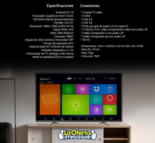 smart tv asano 55' 4k ultrahd android 7.0 oferta loi