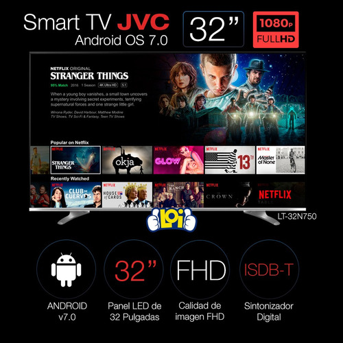 smart tv jvc 32' fullhd quadcore android 7.0 gtía 3 años loi
