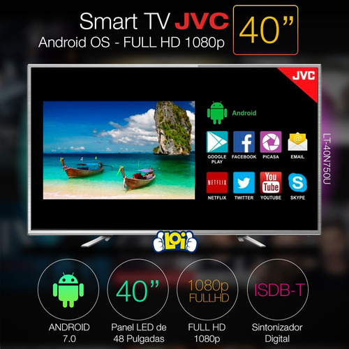 smart tv jvc 40' fullhd quadcore android 7.0 gtía 3 años loi