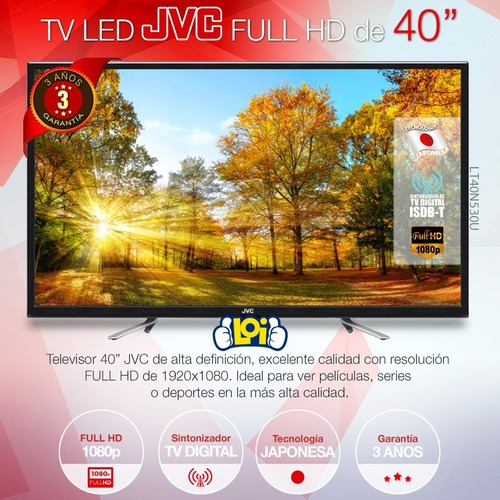 smart tv jvc 40' fullhd quadcore android 7.0 gtía 3 años loi