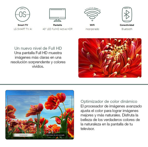 smart tv lg 43' fullhd nuevo modelo 43lm6300 wifi bt loi
