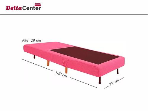 sofá cama 1 plaza violeta sillon tela + almohadón  delta