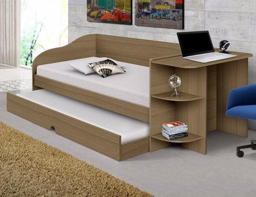 sofá cama raissa com escrivaninha - castanho