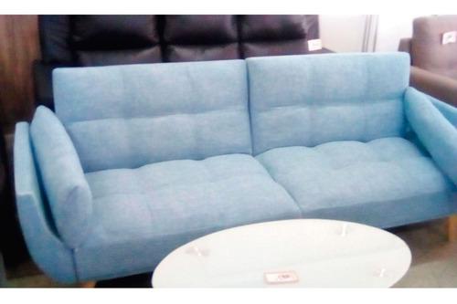 sofa cama varios cuerpos tela living comedor celeste bauti