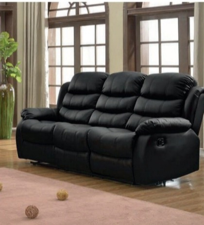sofá reclinable 3 cuerpos living pu negro ac