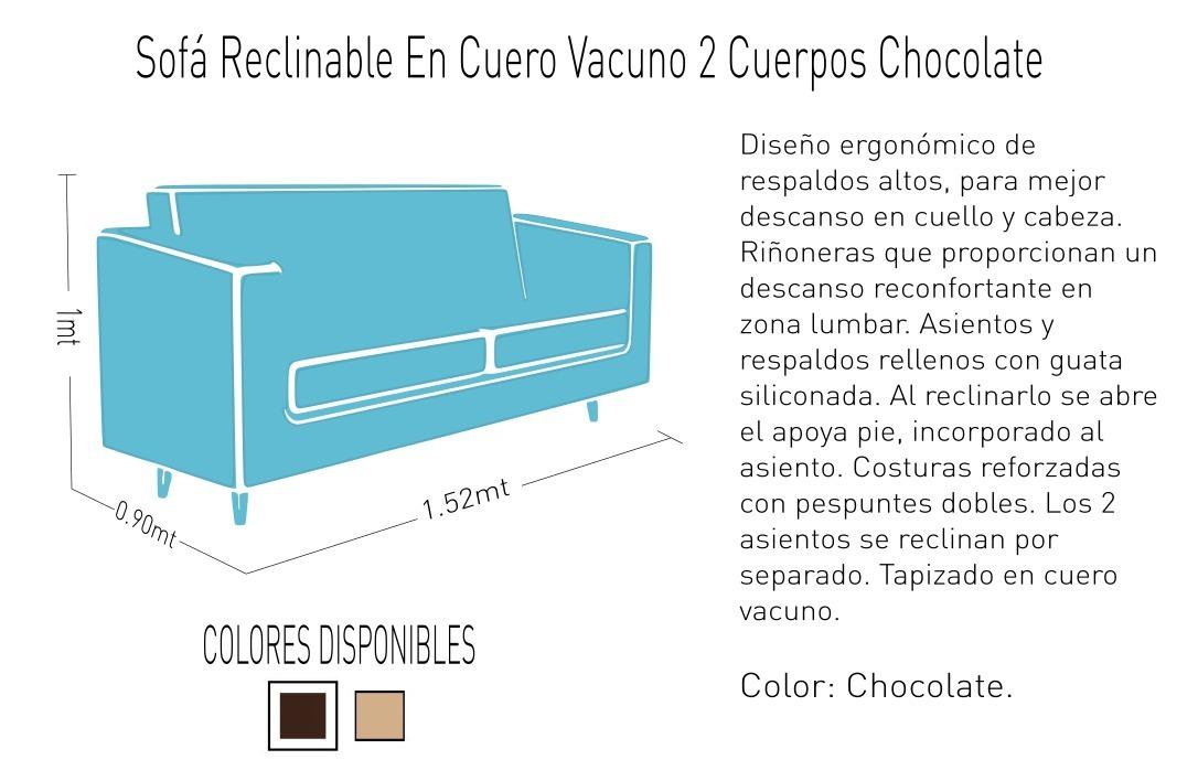 Sofá Reclinable En Cuero Vacuno 2 Cuerpos Chocolate - $ 34 ...