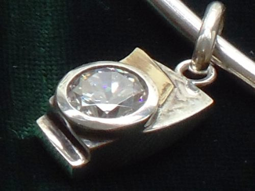 sofisticado colar prata-de-lei/vermeil/zircônia,itália,déc80