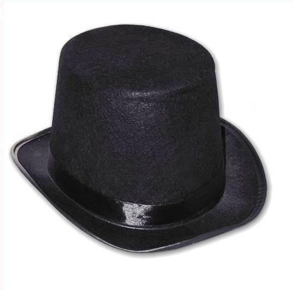 684eb80219286 Sombrero Galera Afelpada De Copa Alta En Color Negro -   150
