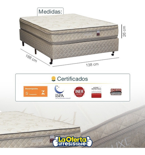 sommier 2 plazas colchón espuma deluxe d80 doble pillow loi