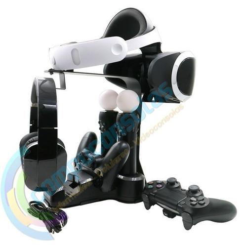 soporte base de carga controles ps move y joystick ps4 ps vr