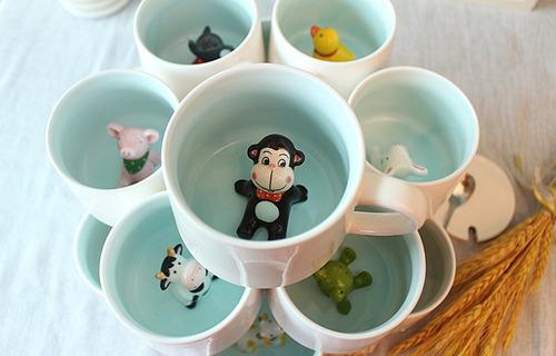 sorpresa 3d de dibujos animados miniatura taza de café de