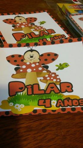 sorpresitas libritos para colorear personalizado+6 crayones