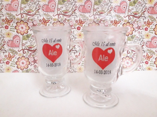 souvenirs taza jarro capuccino vidrio 15 años boda cumple