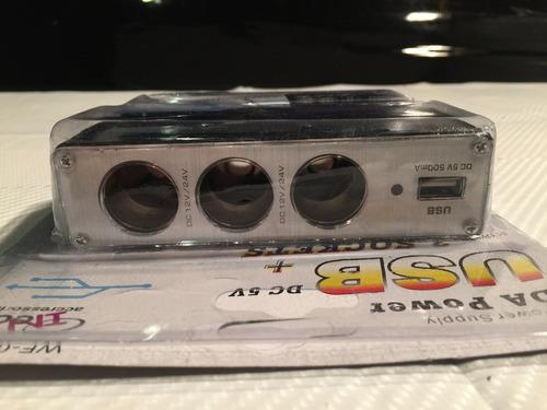 spliter encendedor auto c/ puerto usb p/ carga telefono e13