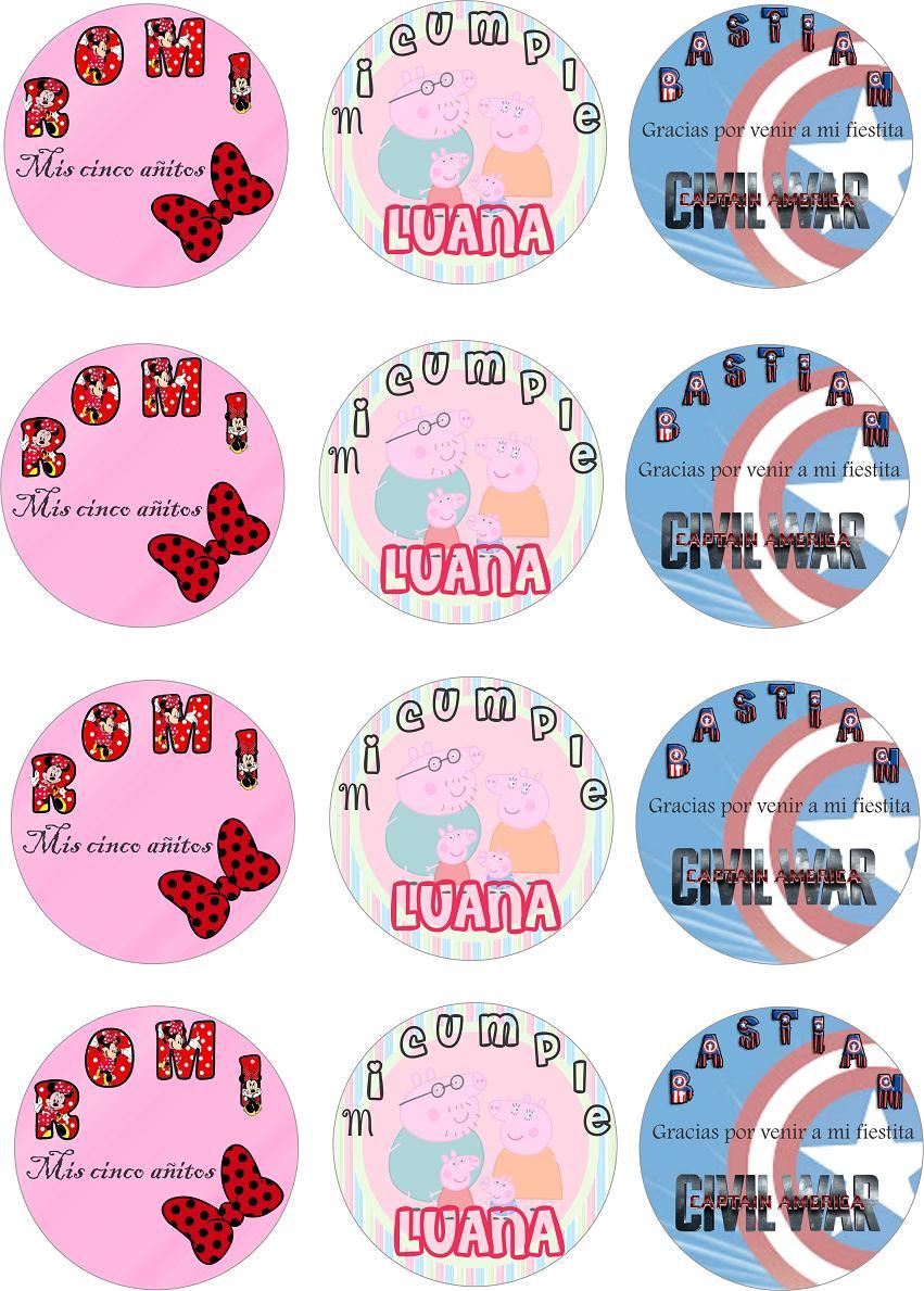 Stickers, Plantilla, Etiquetas Personalizada Para Dulces - $ 55,00 ...