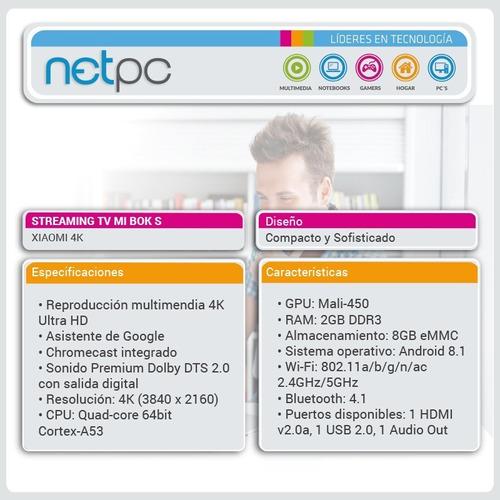 streaming mi box s tv xiaomi 4k ultara hd - nuevo - netpc