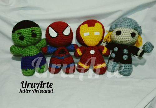 super heroes muñecos crochet amigurumi advengers niño niña