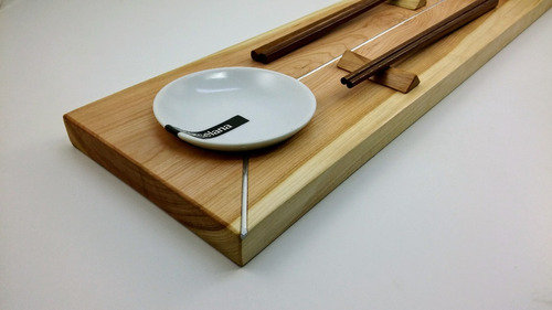 sushi set doble fusión metal recto madera de lenga