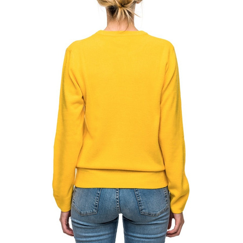 sweater dama básico amarillo- buzo tejido punto - bellmur