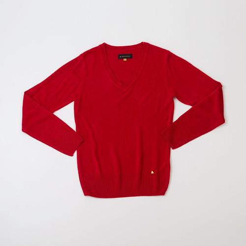 sweater dama básico escote en v rojo
