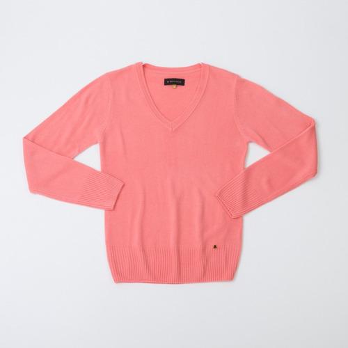 sweater dama básico escote en v salmón