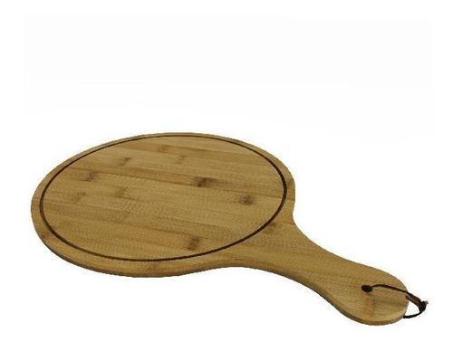 tabla de madera redonda con mango y cuerda 34 x 29 cm