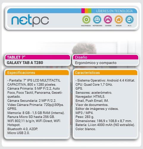 tablet 7  galaxy tab a t280 - netpc