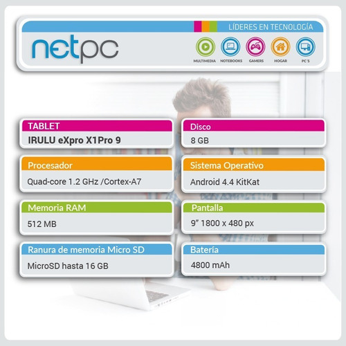 tablet irulu expro x1pro 9 - 512mb/8gb/9 - nuevo - netpc