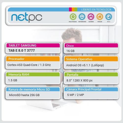 tablet samsung t3777 tab e  qcore/1.5gb/16gb/8.0  - netpc