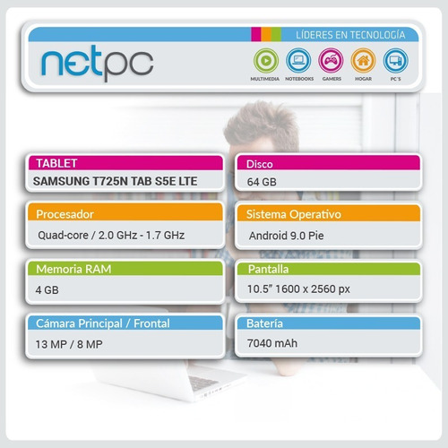 tablet samsung t725n tab s5e 64gb/4gb/10.5 lte - netpc