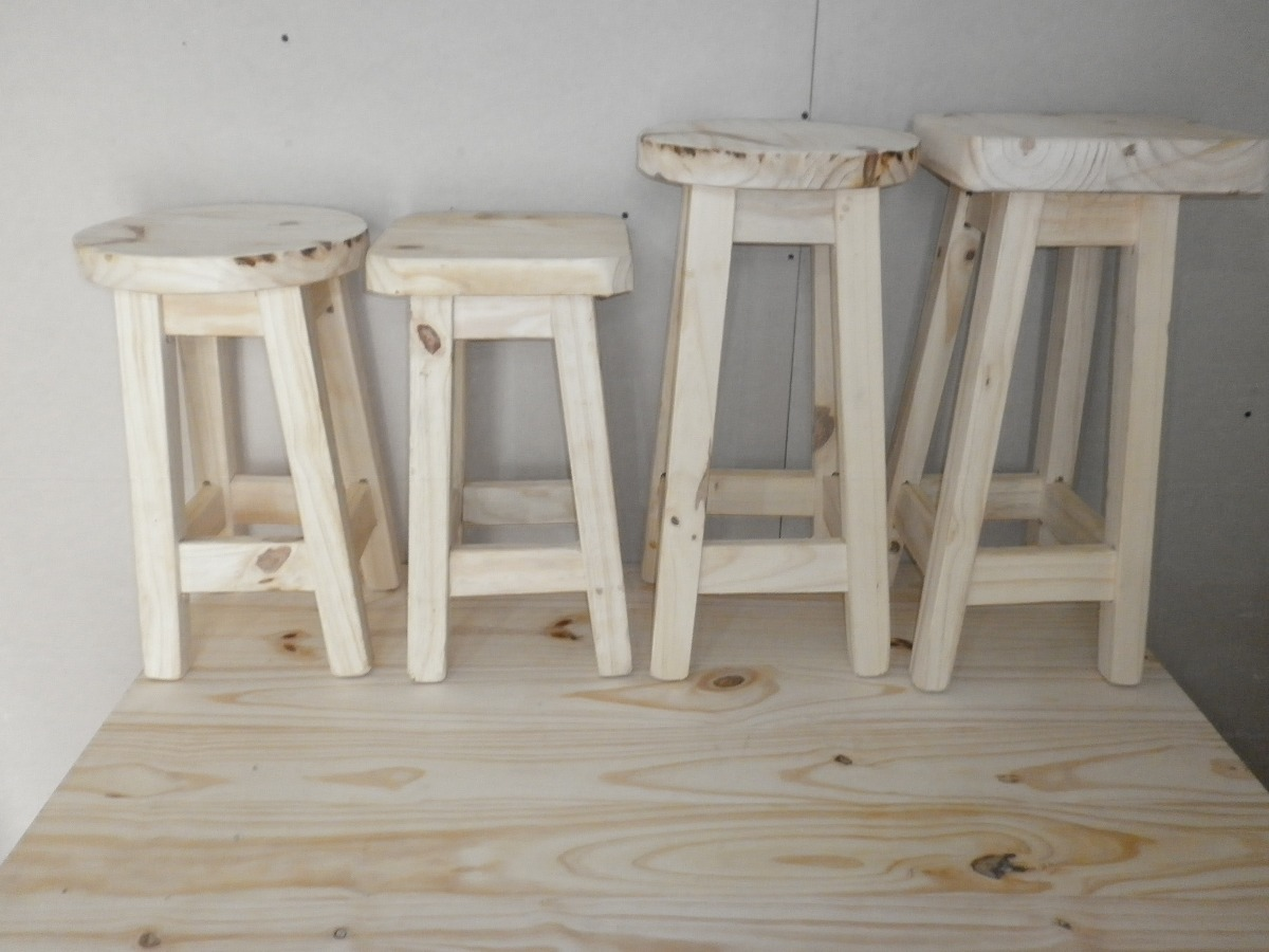 Taburete banco de madera 60 bar barra cocina sin pintar - Banco de madera ...