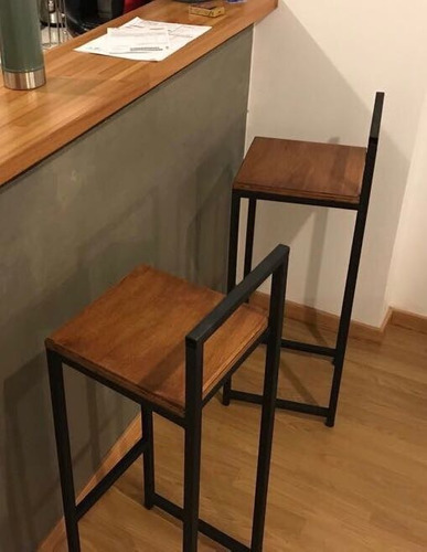 taburete banqueta hierro y madera barra bar silla a medida