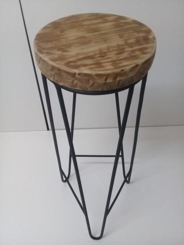 taburete rustico 75cm de altura y base 28cm de diametro