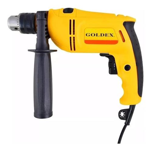 taladro percutor 500w goldex valija +herramientas+accesorios