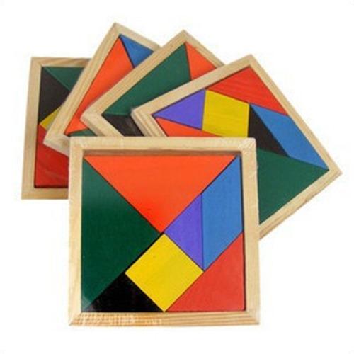 tangram de madera pintada en 2 tamaños regalo