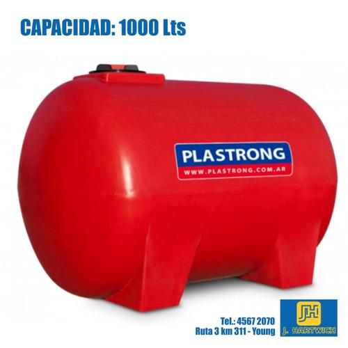 tanque plástico cilíndrico horizontal bases 1000l plastrong