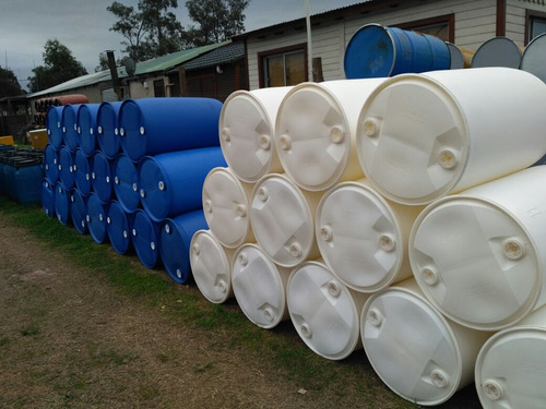 tanque (tarrina bombona) de dos tapas 200 litros blanca