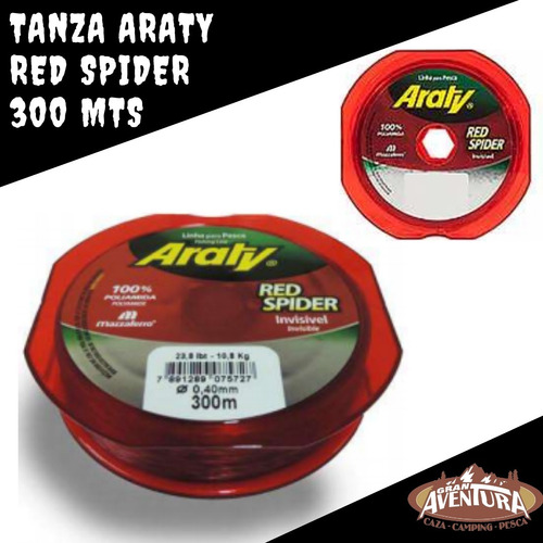 tanza nylon monofilamento araty red spider 0.40 mm roja