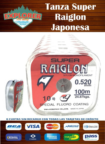 tanza super raiglon japonesa 0.405 mm