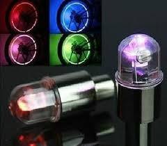 tapa valvula luz led p/ rueda bici moto auto multicolor x2
