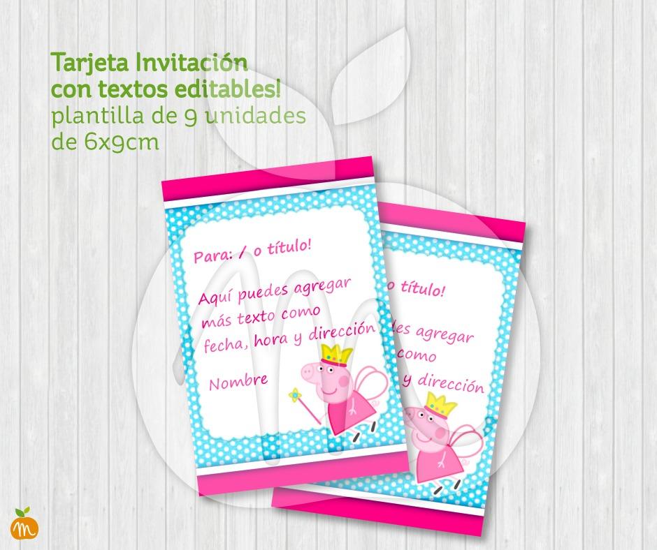Tarjeta Baby Showers Cumpleaños Peppa Pig Princess