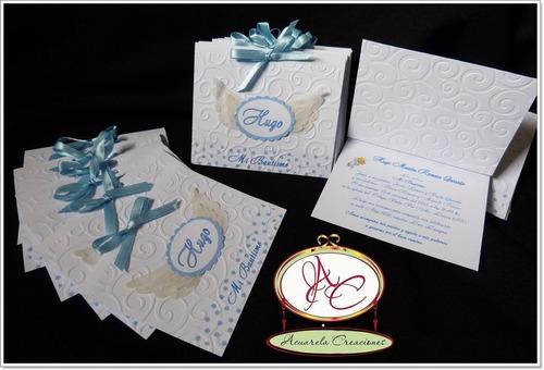 tarjeta bautismo o comunión - acuarela creaciones