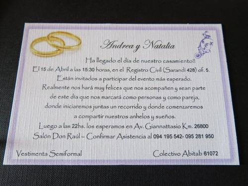 tarjeta boda 9,5 x 14,5 diseños personalizados...