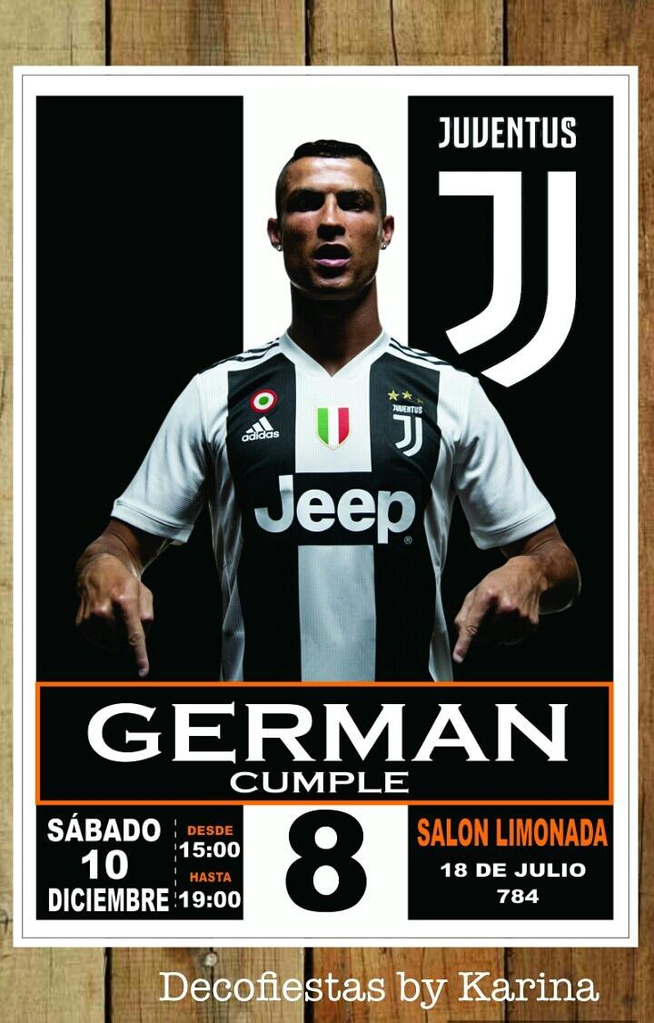 Tarjeta Cumpleaño Invitación Fútbol Juventus