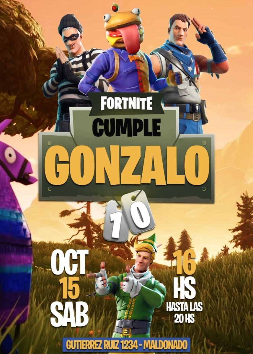 Tarjeta Cumpleaños Invitacion Digital Fortnite $ 160,00 en Mercado Libre