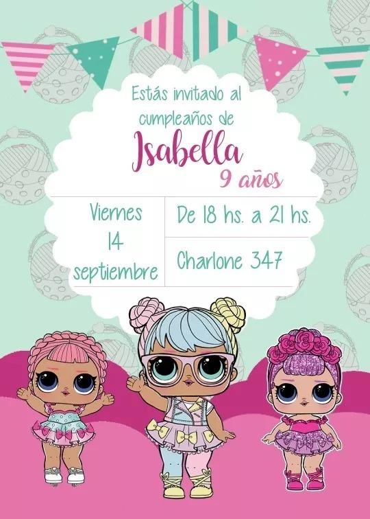 Tarjeta De Invitación Muñecas Lol Imprimible