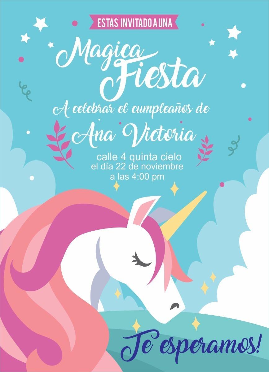 Tarjeta De Invitacion Unicornio Digital Unicornios Kit