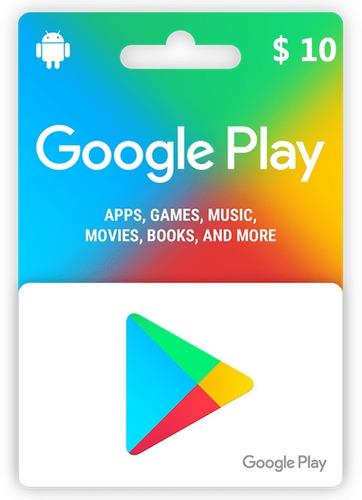 tarjeta google play 10 usd (cuentas de eeuu) - mercado uy