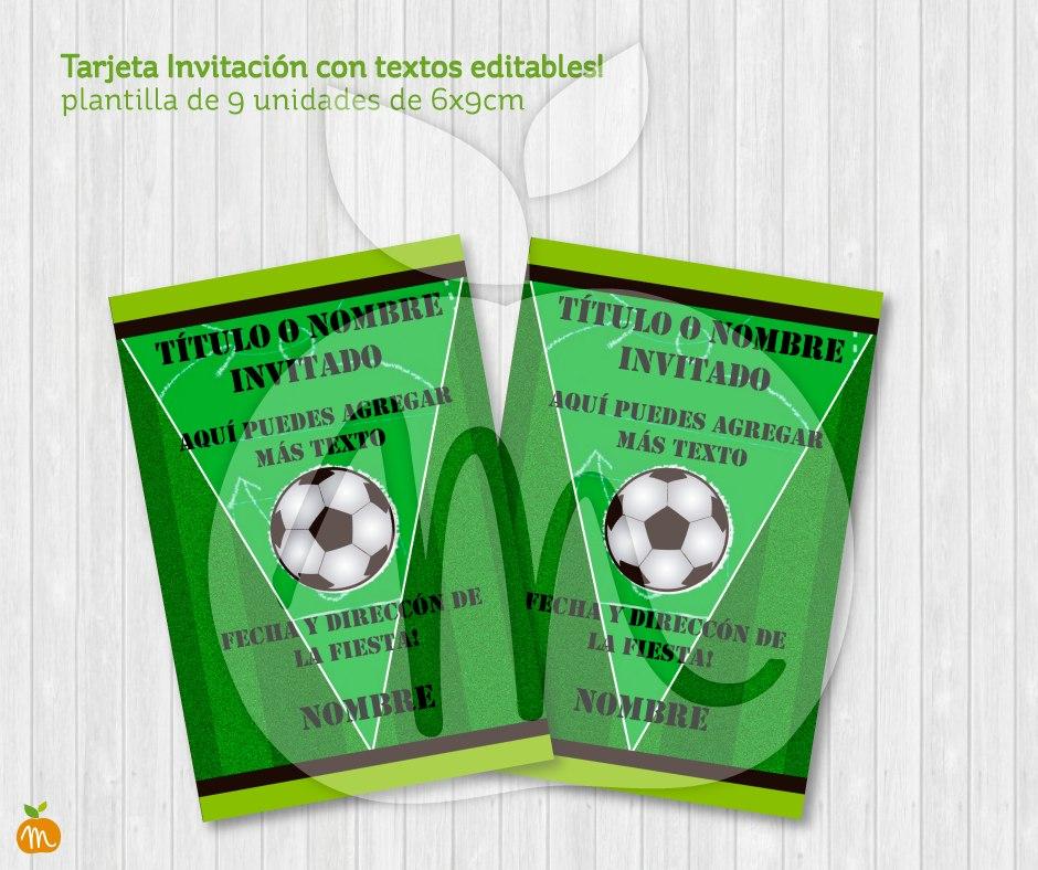 Tarjeta Imprimible Con Textos Editables Fútbol Cumpleaños