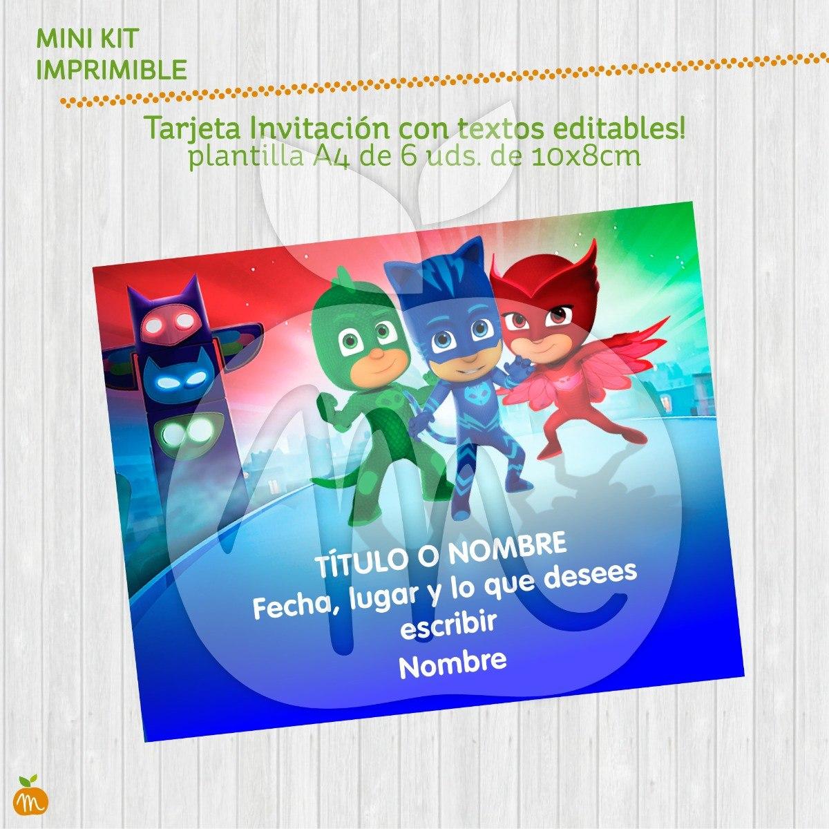 Tarjeta Invita Imprimible Cumpleaños Pjmasks Heroes Pijamas